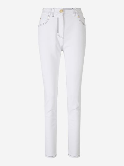 Contrast Topstitching Jeans