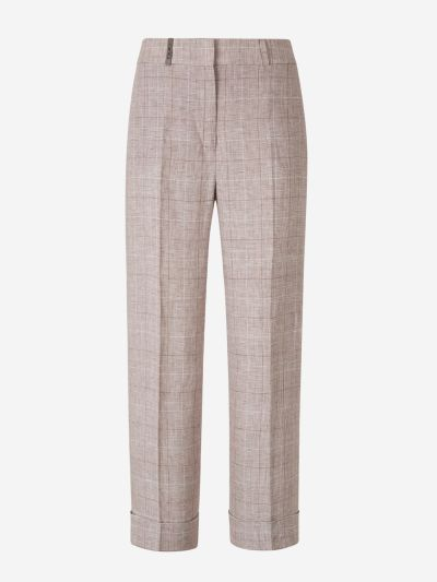 Linen Prince of Wales Trousers