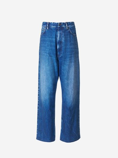 Flowy Denim Print Pants