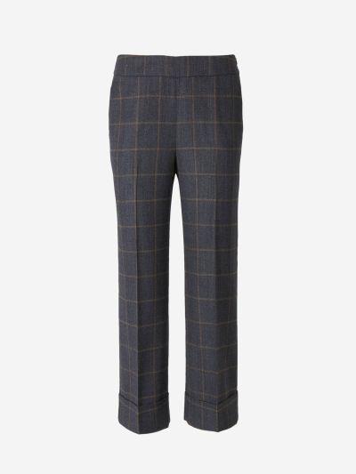 Checked Motif Wool Pants