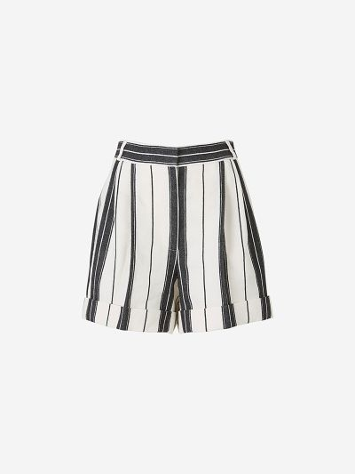 Linen and Cotton Striped Shorts