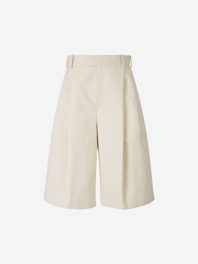 Cotton Darted Bermuda Shorts