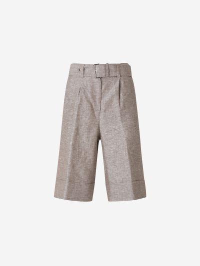Belted Linen Bermuda Shorts