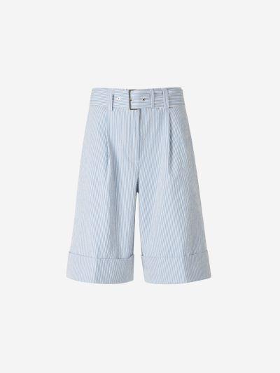 Belted Seersucker Bermuda Shorts
