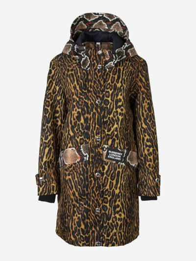 Animal print jacket with hood