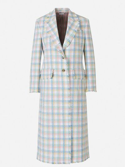 Long Cotton Plaid Coat