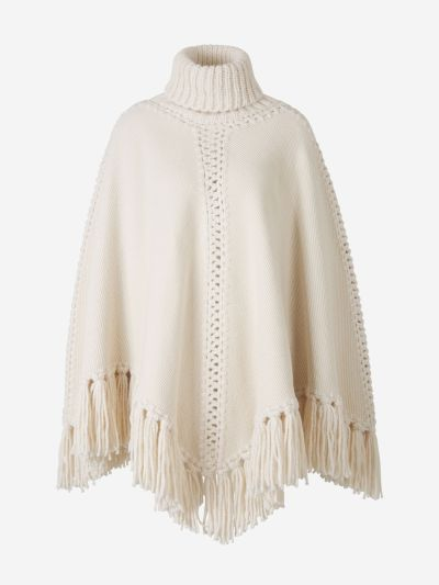 Fringed Knitted Wool Poncho