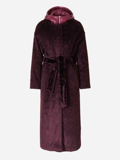 Satin Faux Shearling Coat