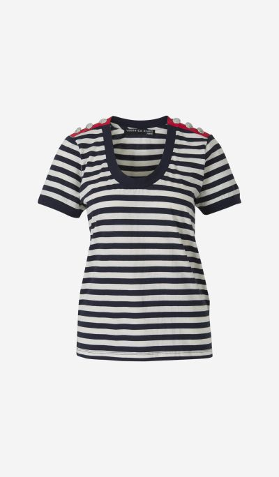Striped T-shirt with Buttons