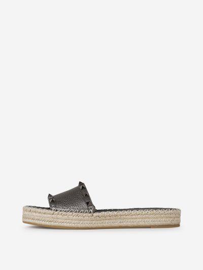 Rockstud Leather Espadrilles