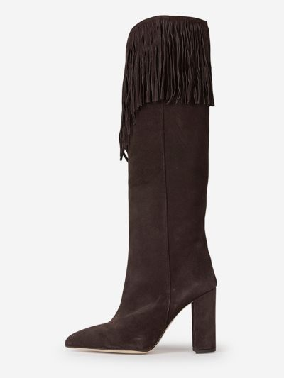 High-leg suede leather boots with fringes