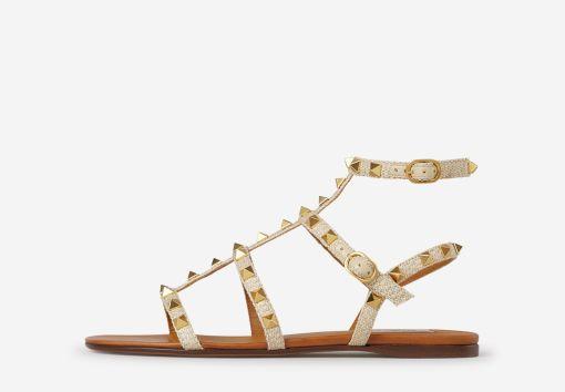 Rockstud Raffia Flat Sandals